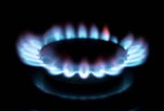 Gasgasbrännare i köket Royaltyfri Foto