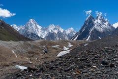 Gasherbrum-Gebirgsmassiv und Baltoro-Gletscher, K2 Wanderung, Pakistan lizenzfreie stockfotos