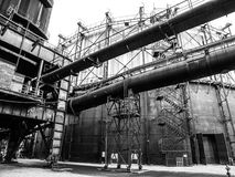 Gasholder in the industrial zone Stock Photography
