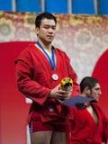 Gasimov Kanan op podium Royalty-vrije Stock Fotografie