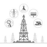 gasinstallatie of olieboortoren met pictogrammen van procesproductie Royalty-vrije Stock Foto's