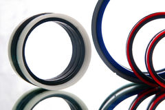 Gaskets. Few colorful gaskets with different diameters and destination Stock Photo