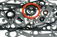 Gaskets kit. Many gaskets - a kit for motor engines Stock Images