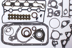 Gaskets for motor on a white background Stock Images