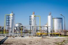 Gaslagring och pipelin Arkivfoton
