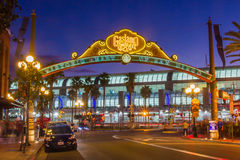 Gaslamp Arch. Historic Gaslamp Quarter Arch With Convention Center In Background, San Diego, California Royalty Free Stock Photos