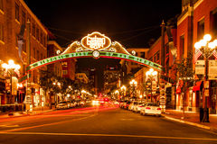 Gaslamp District. Night Composition of Gaslamp Quarter Arch in San Diego, California Stock Image