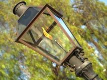 Gaslampa med bränningflamman Arkivbild