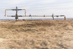 Gasledningmitt av fältet Extraktion av gas från lagring Royaltyfri Fotografi