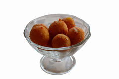 Garlic cheese balls. Cheese balls with ham and garlic in a glass on white background Royalty Free Stock Images