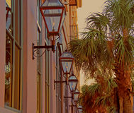 Gaslights of Charleston. A photograph of gaslights along a street in Charleston South Carolina Stock Photography