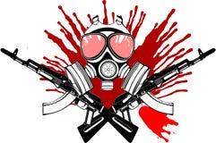 Gasmaske, Gewehr und Blut. Stockfotos