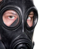 Gasmaske-Mannnahaufnahme stockbilder