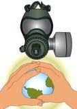Gasmaske-WARNING Lizenzfreies Stockfoto