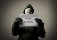 Gasmasker. Homo sapiens. Royalty-vrije Stock Foto's