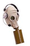 Gasmasker met stereoear-telefoons stock fotografie