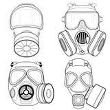 Gasmasker op witte achtergrond wordt geïsoleerd die Vector illustratie Stock Foto's