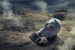 Gasmasker in quemical oorlog Royalty-vrije Stock Foto's
