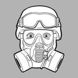 Gasmaskermilitair - editable vector grafisch Royalty-vrije Stock Afbeelding