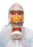 gasmaskkvinna Arkivbild