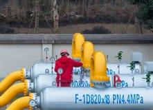 Gasodutos da limpeza e da manutenção Fotografia de Stock