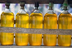 Gasolina in bottles for sale on Java Indonesia Stock Images