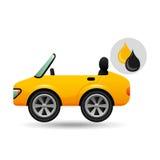 Gasolina del aceite del descenso del coche deportivo Foto de archivo libre de regalías