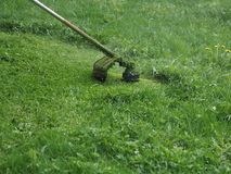 Gasolina do ajustador do cortador de grama com linha de pesca foto de stock