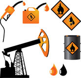 Gasoline. Symbols representing the oil industry and the production of gasoline royalty free illustration