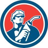Gasoline Attendant Fuel Pump Nozzle Circle Retro Royalty Free Stock Photography