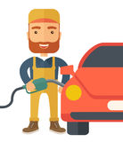 Gasoline boy filling up fuel. A happy hipster gasoline boy filling up fuel into the car. A Contemporary style. flat design illustration isolated white Royalty Free Stock Images