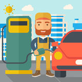 Gasoline boy filling up fuel. A happy hipster gasoline boy filling up fuel into the car. A Contemporary style with pastel palette, soft blue tinted background Stock Images