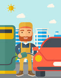 Gasoline boy filling up fuel. Stock Image