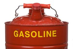 Gasoline Can. Closeup image of a gasoline can isolated on a white background Stock Photos