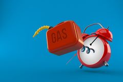 Gasoline can with alarm clock. Isolated on blue background. 3d illustration Stock Image