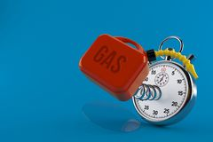 Gasoline can with stopwatch. Isolated on blue background. 3d illustration royalty free illustration
