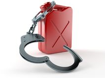 Gasoline canister with handcuffs. Isolated on white background. 3d illustration Royalty Free Stock Photos
