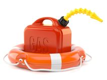 Gasoline canister with life buoy Stock Photography