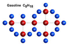 Gasoline. 3d render of molecular structure of gasoline isolated over white background Atoms are represented as spheres with color and chemical symbol coding royalty free illustration