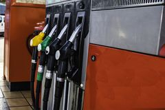 Gasoline filling station with fuel nozzle Royalty Free Stock Photos