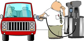 Gasoline fillup. This illustration depicts a man filling his car with gasoline Royalty Free Stock Photos