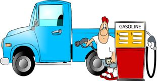 Gasoline fillup. This illustration depicts a man filling his large truck with gasoline Stock Photo