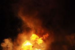Gasoline fire. Erupting gasoline fire shot at night from a distance of 200 meters Royalty Free Stock Photography