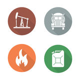 Gasoline flat design icons set. Oil and petrol production long shadow symbols. Benzine jerrycan and flammable signs. Oil well and trucking white silhouette Royalty Free Stock Images