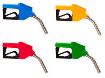Gasoline Fuel Nozzles In Four Colors Royalty Free Stock Photos