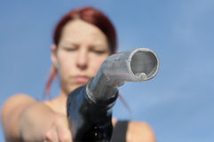 Gasoline fuel petrol refuel nozzle Royalty Free Stock Photo