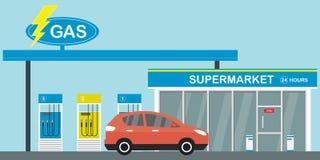 Gasoline fuel station,red modern car on road. Supermarket 24 hours,flat vector illustration vector illustration