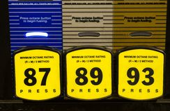 Gasoline grades for car and buses. With multiple grades Royalty Free Stock Images