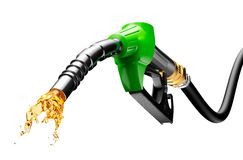 Gasoline Gushing Out From Pump. On white background Stock Images