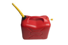 Gasoline jerrican. Gasoline container isolated on white background Royalty Free Stock Images